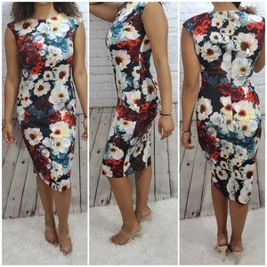 Maggy london sheath floral dress sz 6 EUC